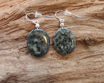 Lake Superior rock and sterling silver earrings in black and green, Christmas, coworker gift, stocking stuffer, dangle earrings, birthday