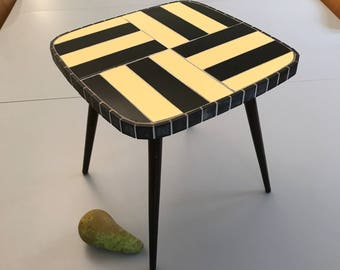 Little Vintage Four Legs Square Miniature Table Plant Stand Small Flower Table Shiny Mosaics Handwork W Germany 60s Abstract Yellow Black