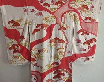 White & Red Pine Furisode Kimono