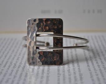 Vintage Sterling Buckle Bracelet - 1970s Mod Buckle Bracelet, Artisan Contemporary Style