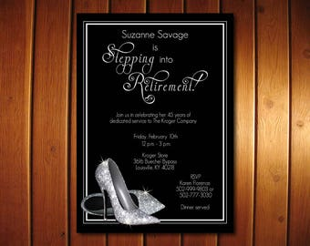 Silver Glitter Retirement Invitation |  Shoes Retirement Party Invitation