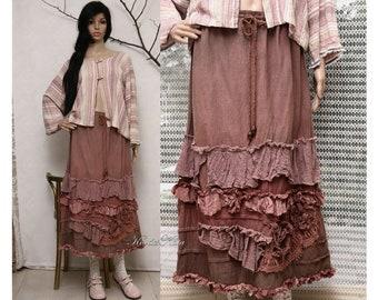 Kinga Skirt - Bohemian Romantic Hand Dyed Mauve Skirt with Frills and Pintuckes OOAK