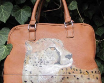 Light Brown/ Camel/ Tan, Leather, Purse/ handbag, with hand Painted Cheetah