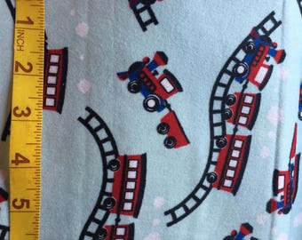 Cotton Flannel BTY - Train Cars on Tracks - for Quilting Sewing Crafts