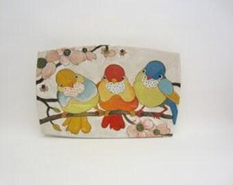 Handpainted Stoneware 'Flowers, Birds & Berries' Medium Rectangular Tray