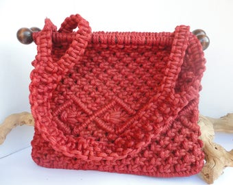 Rust Color Macrame Purse