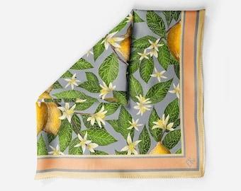 Lemon Print 100% Silk Scarf