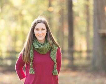 Crochet tassel scarf - crochet scarf - boho scarf - tassel shawl - tassel scarf - womens accessory - fall scarf - winter scarf
