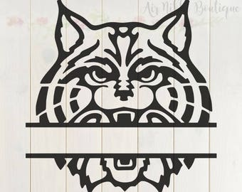 Wildcat Split Design SVG, PNG, DXF files, instant download