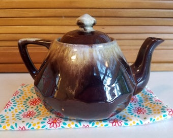 Brown Drip Teapot, Redware 3 1/2 cup size, vintage teapot, tea pot, Red Ware