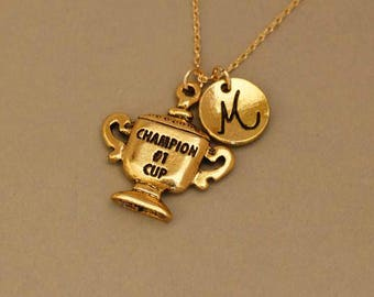 Champion  trophy necklace - Champion cup necklace - trophy cup necklace  - gold  trophy cup necklace - champions   trophy  necklace -trophy