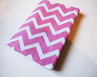 Pink White chevron cotton wallet