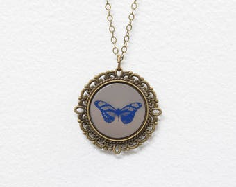 Blue Butterfly Tintype Necklace Wet Plate Collodion