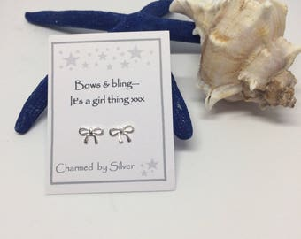 Sterling Silver Bow stud Earrings with Message
