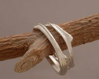 15%OFF-Ships on Sept15 Sterling Silver Wedding Ring Set, Unique Wedding Bands, Bridal Jewelry, Tree Branch Rings BE35a