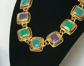 Beautiful Multi color and gold tone necklace