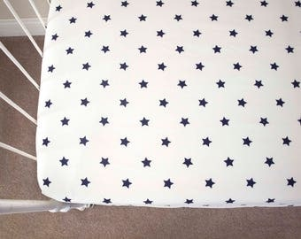 Navy Blue Stars Baby Crib Fitted Sheet  / Cot Sheet. Ready to Ship!