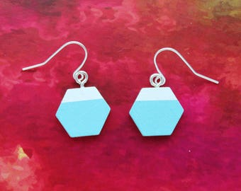 Aqua and white hexagon dangly earrings