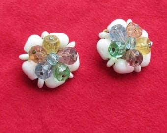 Vintage  White Milk Glass & Colorful Beaded Cluster Clip On Earrings West Germany