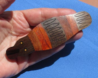 Retro Platypus Large Wooden & Metal Barrette