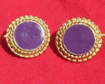 Vintage Purple Enameled Rope Design Round Clip On Earrings