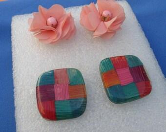 Lot Of Retro Flower Colorful Pierced Earrings TLC