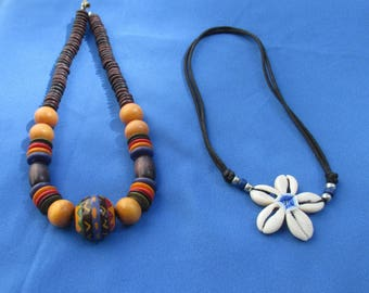 Retro Colorful  Beaded Wood Composite & Flower Shaped Shell Drawstring Rope Necklace TLC