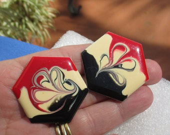 Retro Colorful Red Black & Creme Colored Swirled Enameled Pierced Earrings TLC