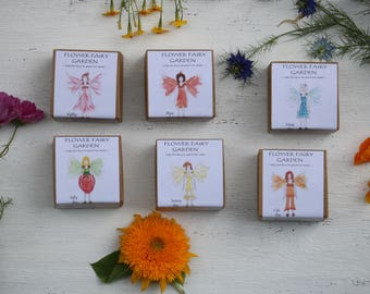 6 FLOWER FAIRY birthday party favors for a fairy garden party, fairy party birthday supplies