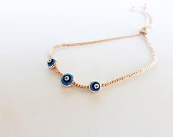 Adjustable Evil Eye Bracelet - Evil Eye Bracelet - Protection Charm - Turkish Evil Eye - Protection Bracelet - Evil Eye Jewelry  Lucky Charm