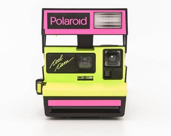 Polaroid Cool Cam Neon Pink and Yellow - Polaroid 600 Instant Camera Tested and working - RARE Polaroid