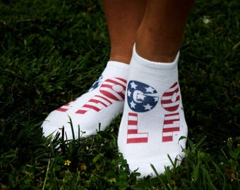 American Flag Themed Golf Socks - Made to Order No Show Socks, White Socks Available in Small, Medium and Large, and Sold by the Pair