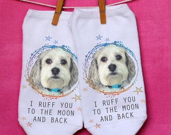 Pet Photo Socks - Custom Printed Socks With Your Pet's Photo - Print Your Pet on a Pair of No-Show Socks - Sold by the Pair