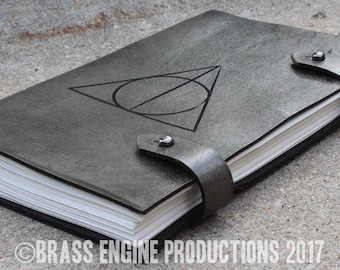 Hallows Sketch Journal 6x9 - 120 pages - Hand Bound - Laser Etched - Smoke Black - Potterverse