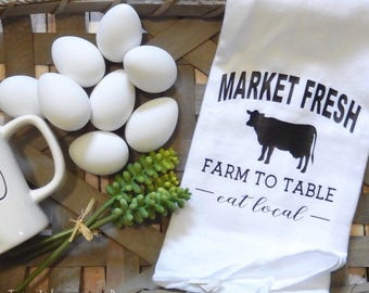 Market Fresh | Farmhouse Decor | Flour Sack | Tea Towel | Farmers Market Tea Towel | Flour Sack Towel | Market Fresh Tea Towel