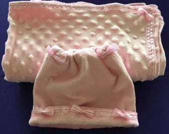 Hand Made PINK BABY BLANKET Whith Hat
