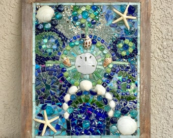 Coastal Stained Glass-window panel, beach, stained glass, coastal panel, stain glass, sea glass, fused glass, sand dollar, seaglass,nautical
