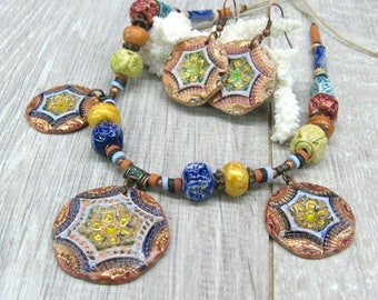 artisan ceramic jewelry set disc necklace and round earrings boho gypsy festival jewelry copper brown blue