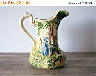SALE Courting Couple Pitcher, Vintage Ceramic Pitcher, Romantic Couple Scene, Raised Painted Blank Pitcher, Water Pitcher