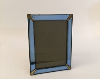 Blue Mirrored Glass Art Deco Picture Frame