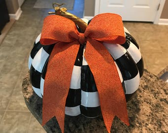 Whimsical Black and White Check Pumpkin with Orange Bow