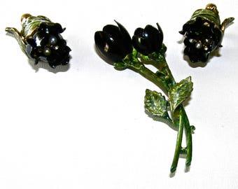 VENDOME Enameled Black Rose Demi Parure