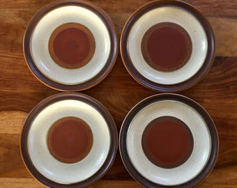 "Vintage Denby Langley Potters Wheel Rust Red 8-1/4"" Salad Plate Set of 4"