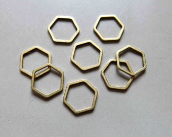 100pcs Raw Brass Hexagon Rings, Findings 10mm - F556