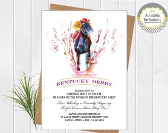 Kentucky Derby  Party Invitation, Run for the Roses Invitation, 144th Kentucky Derby, Run for the Roses, Horse Race, Printable
