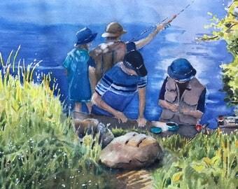 Baiting the Hook watercolor painting original Minnesota fishing Lake Como