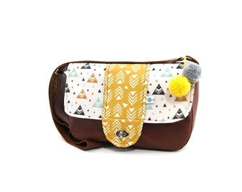 Brown and mustard graphic bag for women