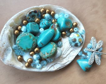 Turquoise, turquoise beads, Czech beads, dragonfly charm, bead mix