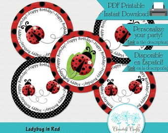 Ladybug in Red Printable Centerpiece / Balloon Stickers / Plates / Party Circles / Wall Decorations / Cake Topper