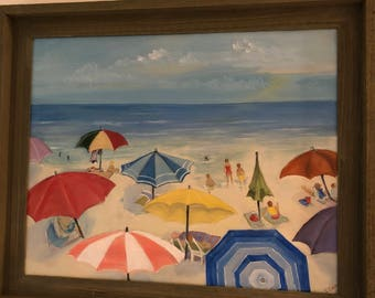 """Original Acrylic Painting """"A Day at the Beach"""" by Cecily Emond"""